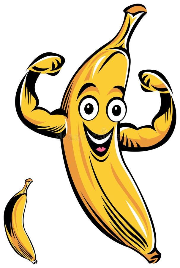 Desenhos animados de sorriso da banana ilustração stock