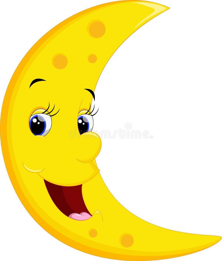 Desenhos animados de sorriso da lua ilustração royalty free