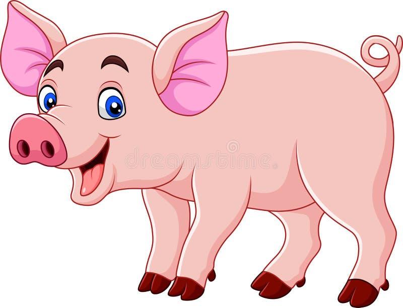 Desenhos animados de sorriso do porco ilustração do vetor
