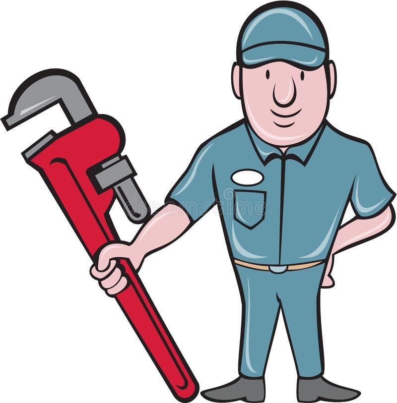 Desenhos animados de Standing Attention Wrench do encanador ilustração royalty free