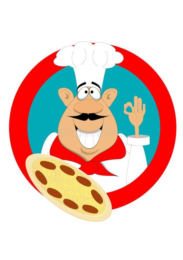 Desenhos animados de um cozinheiro chefe da pizza que guarda uma pizza ilustração stock