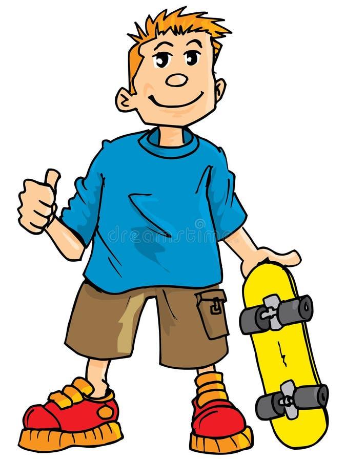 Desenhos animados de um miúdo com um skate ilustração stock