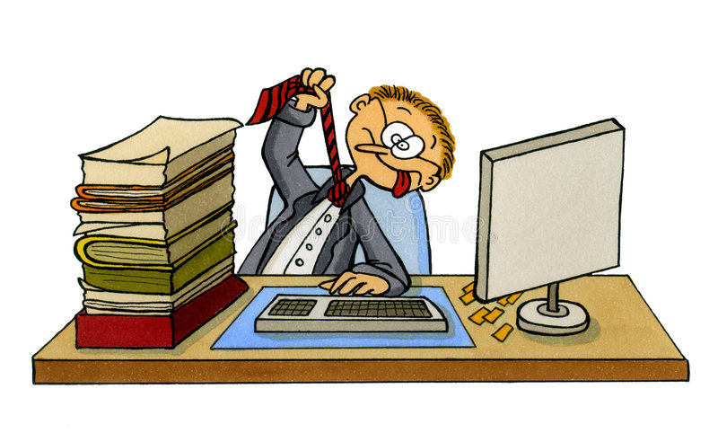 Desenhos animados de um trabalhador de escritório frustrante