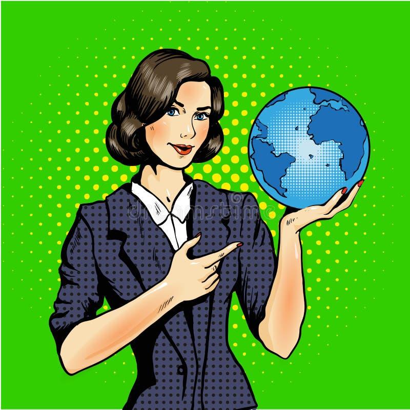 Desenhos animados de uma mulher que mantém um pop art do globo cômico ilustração royalty free