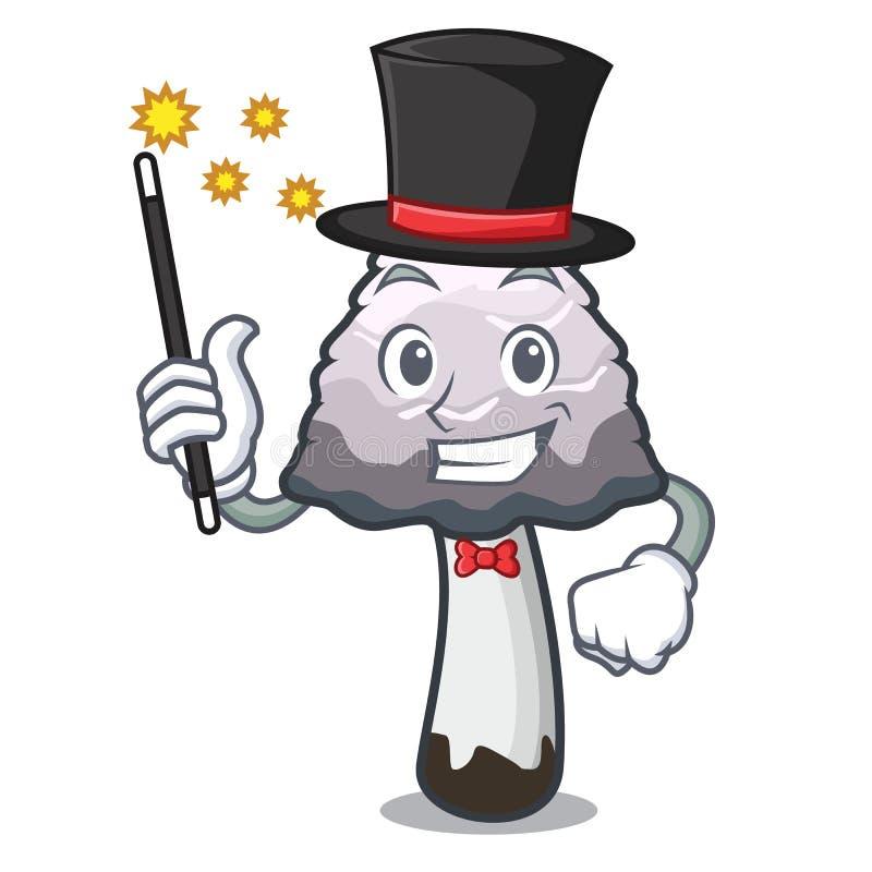 Desenhos animados desgrenhado da mascote do cogumelo da juba do mágico ilustração royalty free