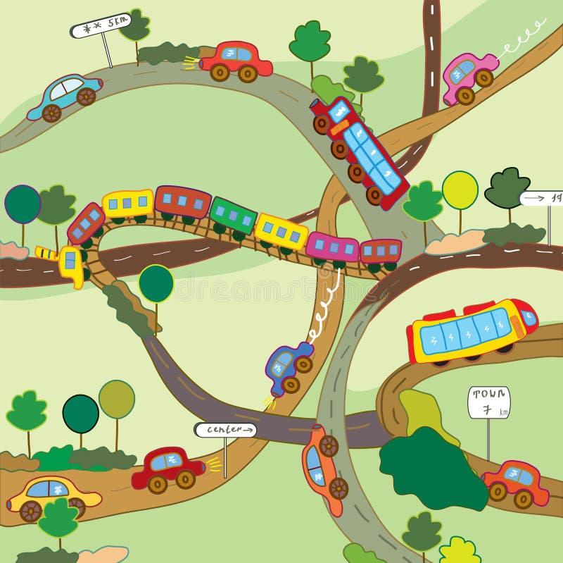 Desenhos animados diários bonitos do transporte ilustração do vetor