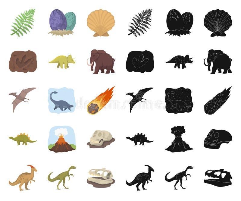 Desenhos animados diferentes dos dinossauros, ícones pretos em coleção ajustada para o projeto Web animal pré-histórica do estoqu ilustração royalty free