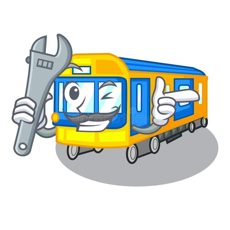 Desenhos animados diminutos do metro do mecânico acima da tabela ilustração do vetor
