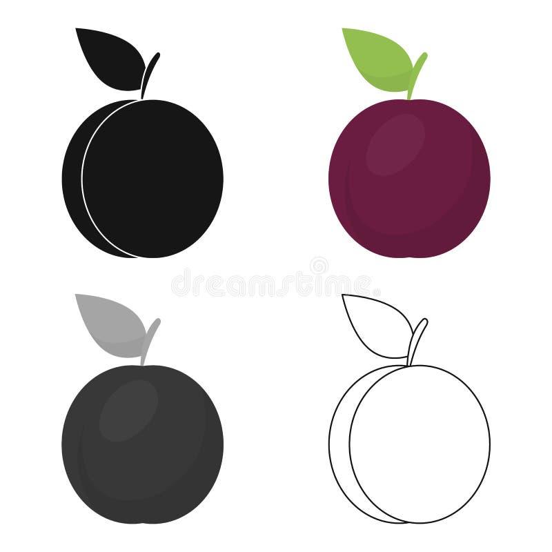 Desenhos animados do ícone da ameixa Ícone do fruto da chamuscadela ilustração do vetor