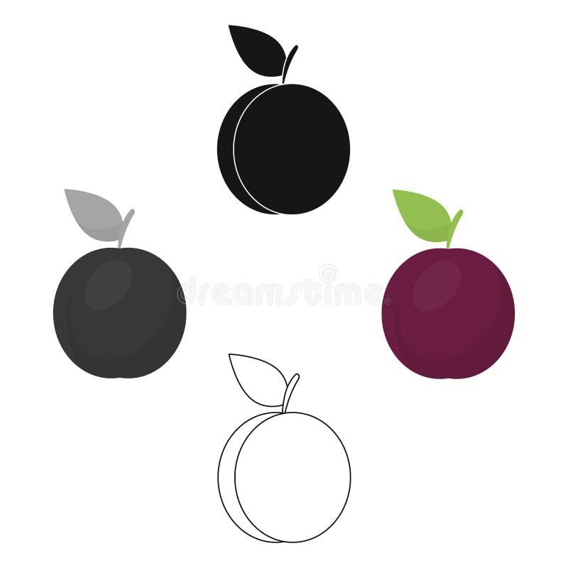 Desenhos animados do ?cone da ameixa, pretos Chamusque os desenhos animados do alimento do ?cone do fruto, pretos ilustração royalty free
