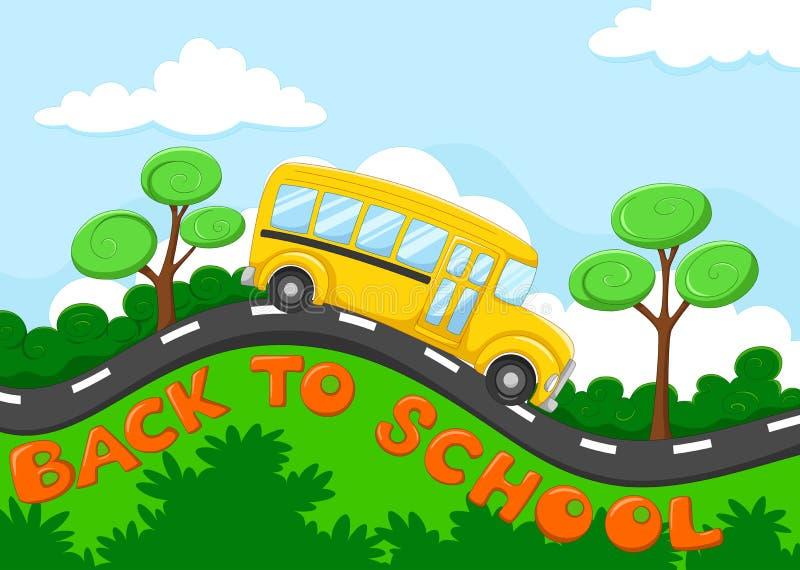 Desenhos animados do ônibus escolar na estrada ilustração do vetor