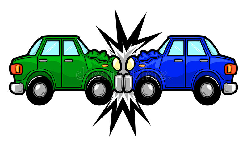Desenhos animados do acidente de trânsito ilustração do vetor