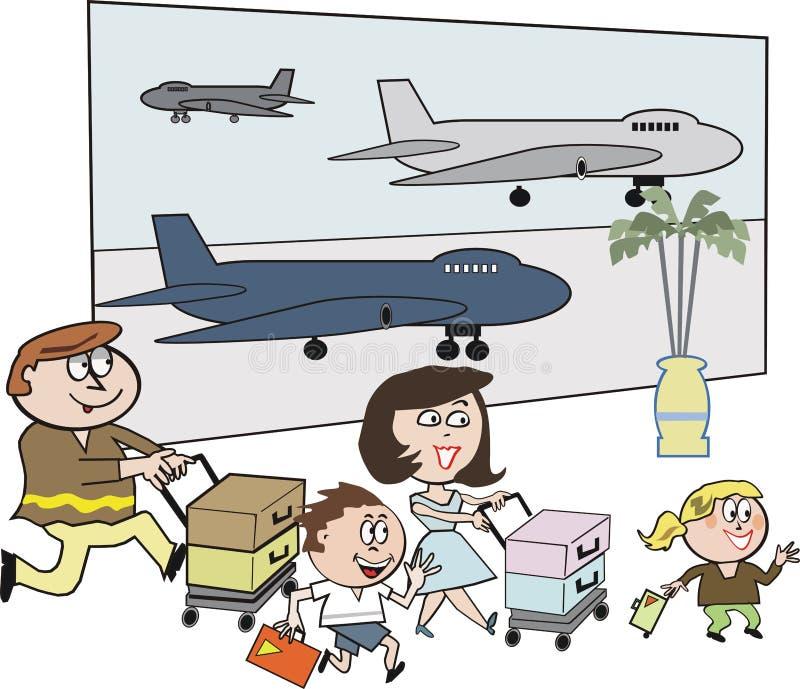 Desenhos animados do aeroporto da família ilustração royalty free