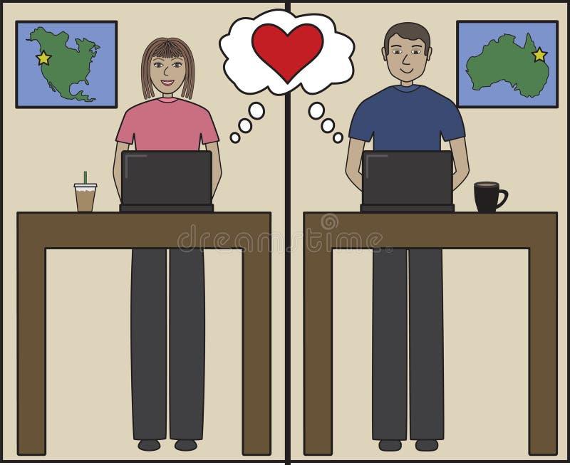 Desenhos animados do amor do Internet ilustração do vetor