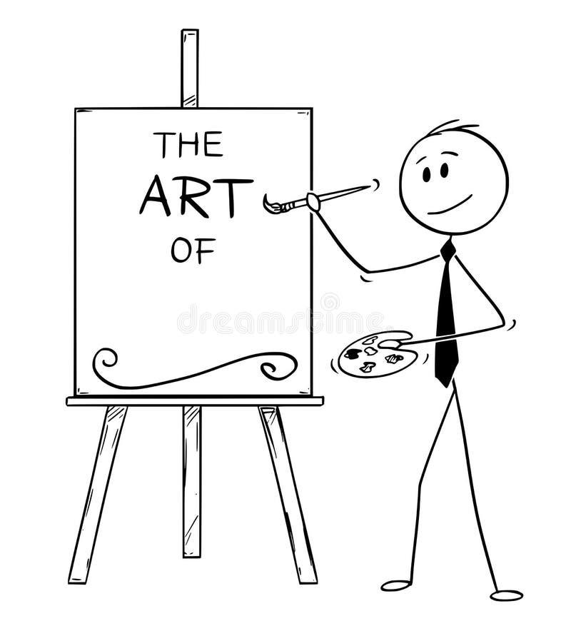 Desenhos animados do artista Holding Brush do homem de negócios e a paleta e a arte do texto na lona Apronte para adicionar seu t ilustração royalty free