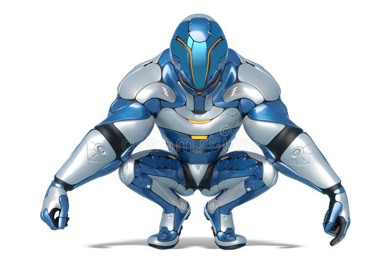 Desenhos animados do astronauta de Sci fi que fazem uma pose squatting em um fundo branco ilustração stock