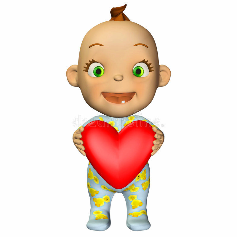Desenhos animados do bebê no amor ilustração do vetor