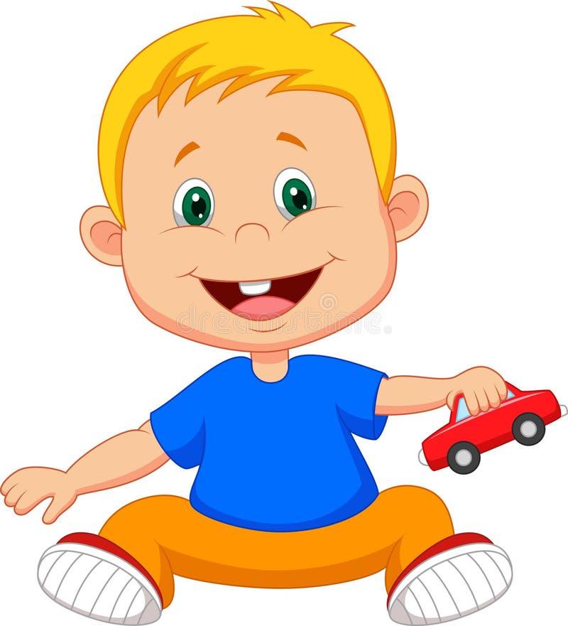 Desenhos animados do bebê que jogam o brinquedo do carro ilustração stock