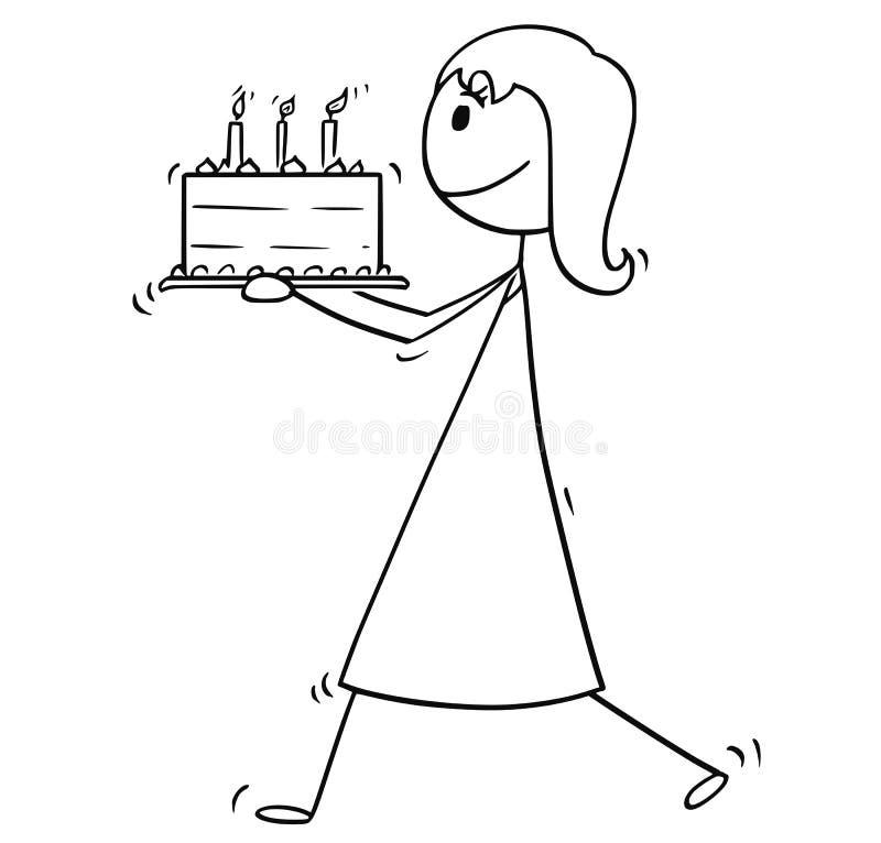 Desenhos animados do bolo de Walking With Birthday da mulher ou da mulher de negócios ilustração do vetor