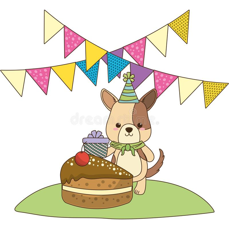 Desenhos animados do cão com projeto do ícone do feliz aniversario ilustração do vetor