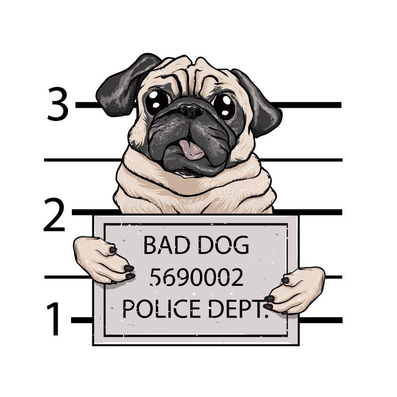Desenhos animados do cão do Mugshot ilustração do vetor