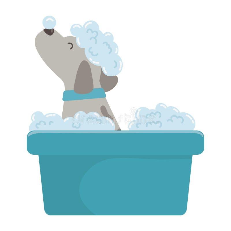 Desenhos animados do cão que tomam o projeto do chuveiro ilustração stock