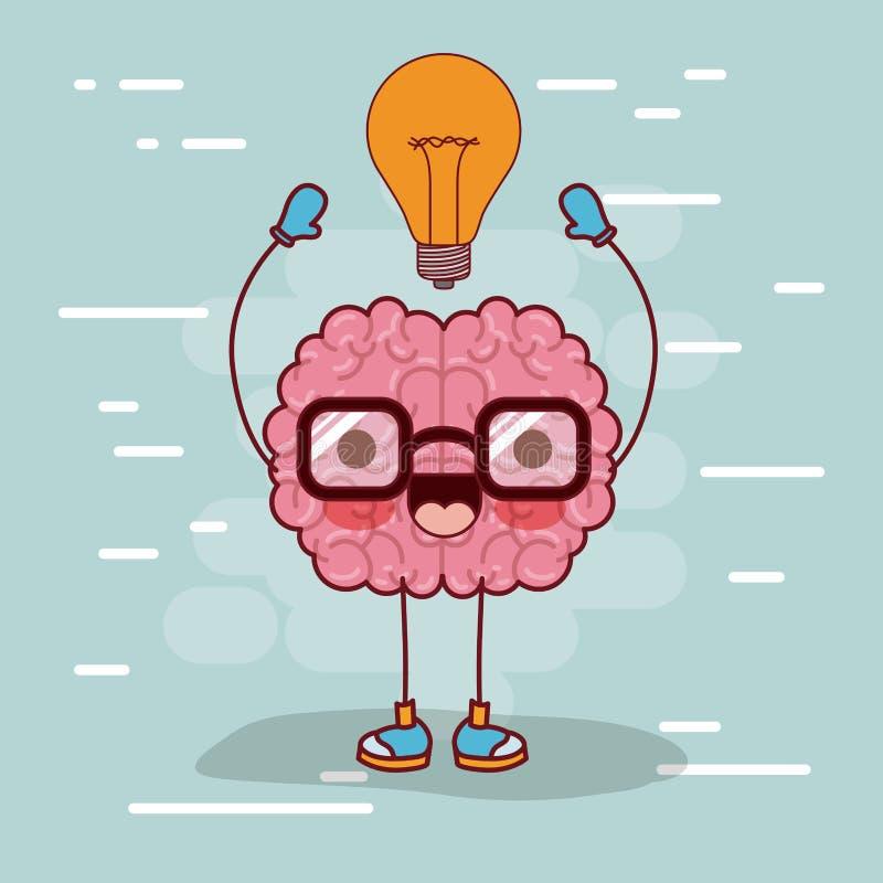 Desenhos animados do cérebro com vidros e ampola na parte superior na luz do fundo - azul ilustração stock