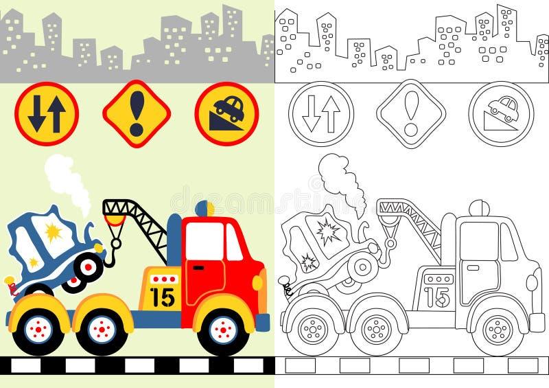 Desenhos animados do caminhão de reboque ilustração stock