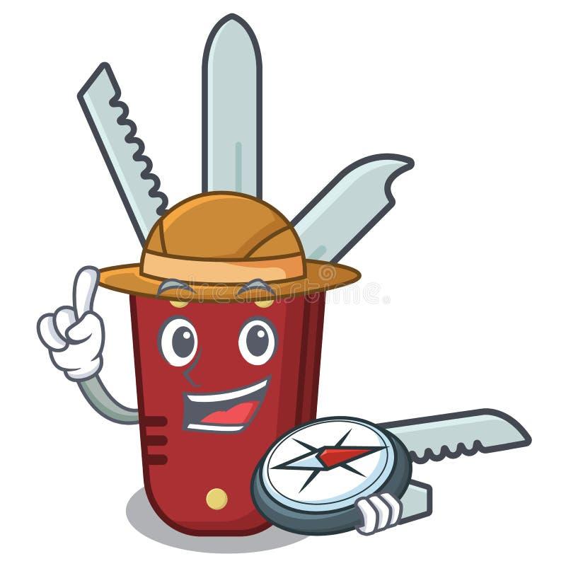 Desenhos animados do canivete do explorador em uma tabela de madeira ilustração do vetor