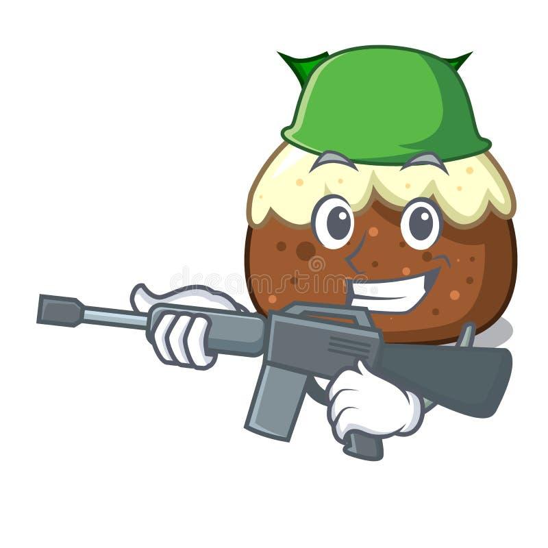 Desenhos animados do caráter do bolo do fruto do exército ilustração royalty free
