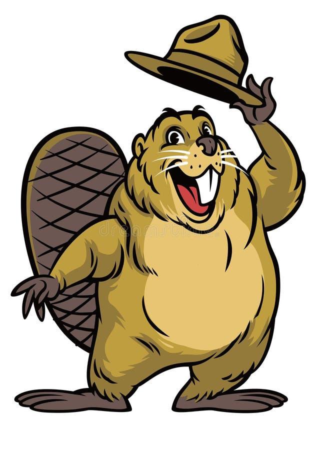 Desenhos animados do caráter do castor que vestem um chapéu ilustração do vetor