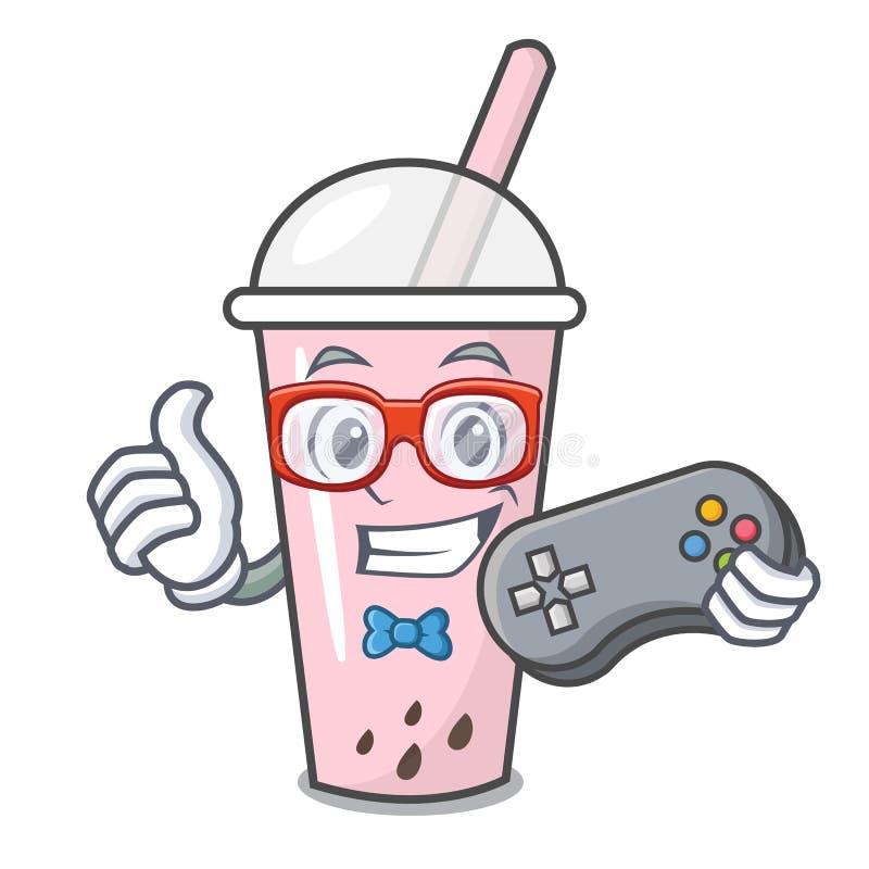Desenhos animados do caráter do chá da bolha da framboesa do Gamer ilustração stock