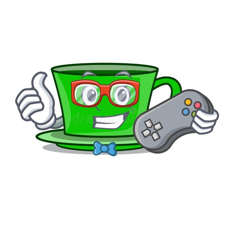 Desenhos animados do caráter do chá verde do Gamer ilustração do vetor