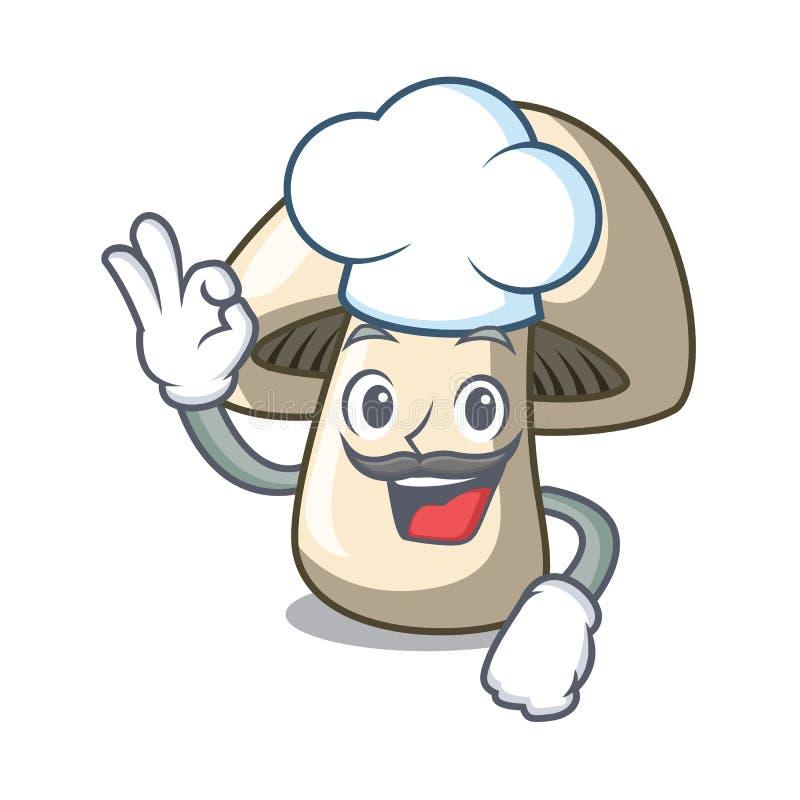 Desenhos animados do caráter do cogumelo do cogumelo do cozinheiro chefe ilustração stock