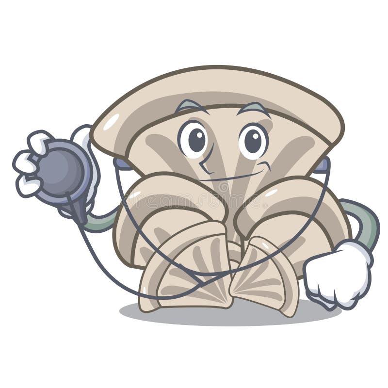 Desenhos animados do caráter do cogumelo de ostra do doutor ilustração royalty free
