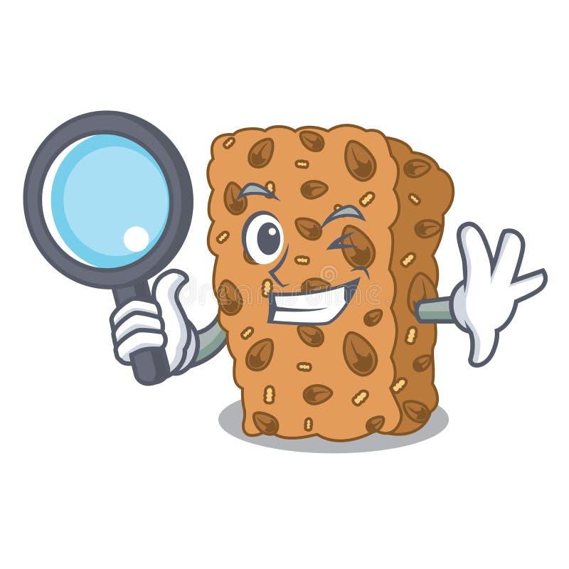 Desenhos animados do caráter da barra de granola do detetive ilustração stock