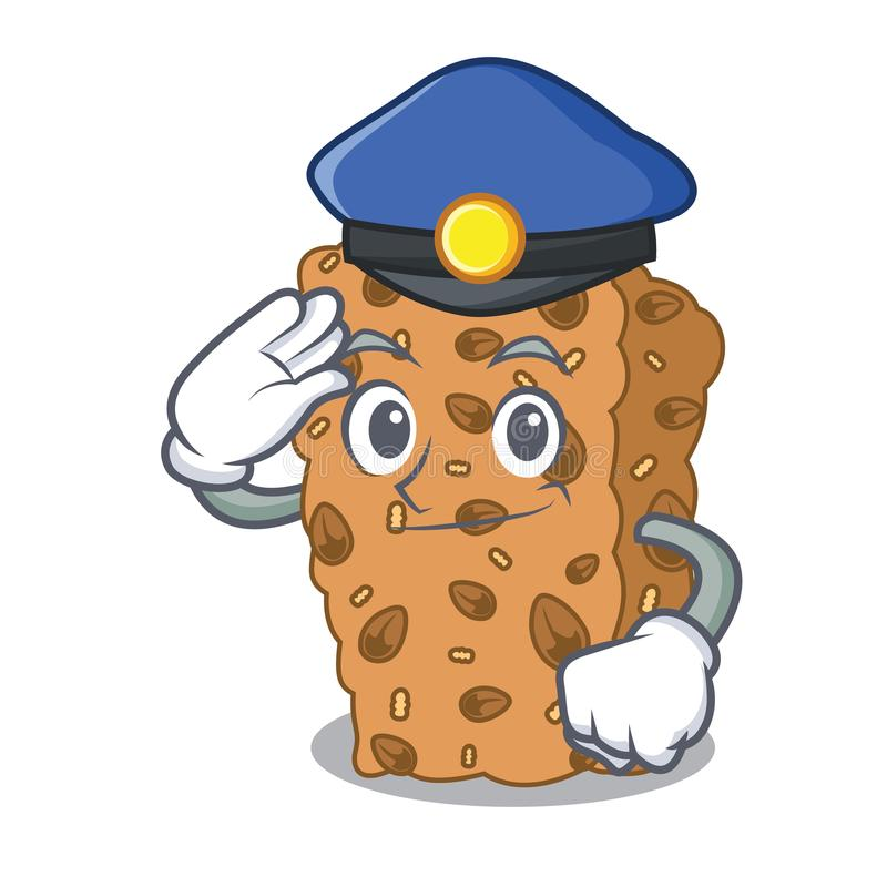 Desenhos animados do caráter da barra de granola da polícia ilustração stock