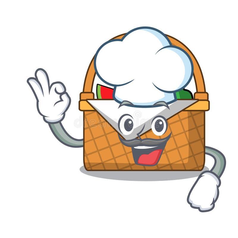 Desenhos animados do caráter da cesta do piquenique do cozinheiro chefe ilustração royalty free