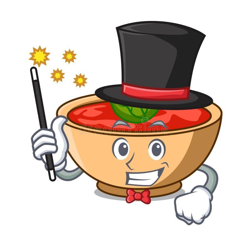 Desenhos animados do caráter da sopa do tomate do mágico ilustração stock