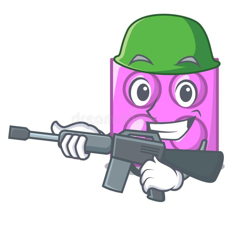 Desenhos animados do caráter do tijolo do brinquedo do exército ilustração stock