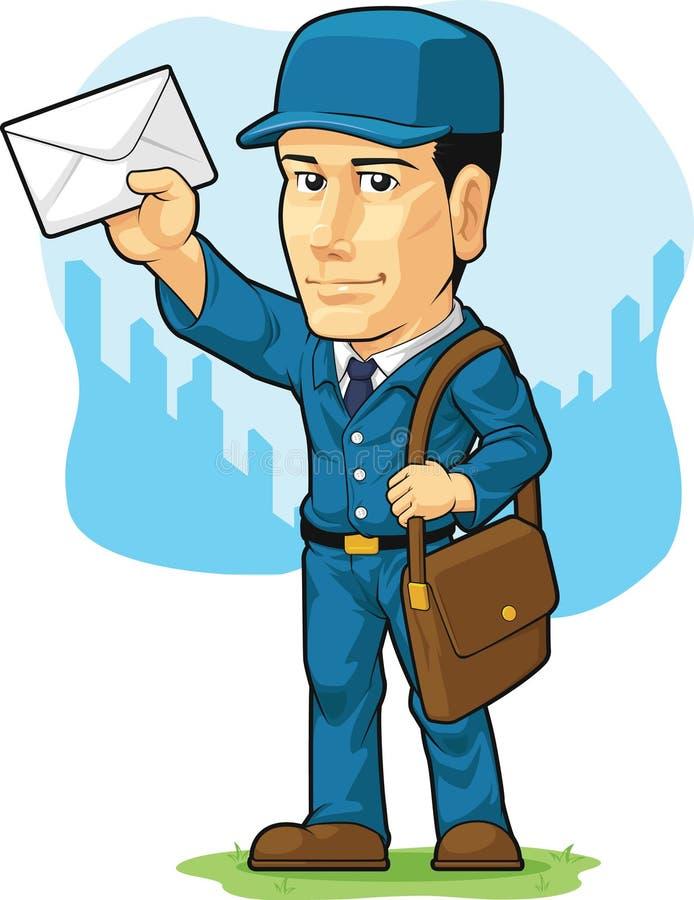 Desenhos animados do carteiro ou do carteiro ilustração do vetor