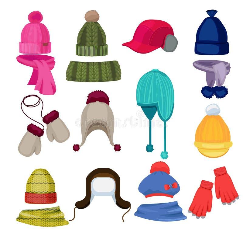 Desenhos animados do chapéu do inverno Lenço do tampão do Headwear e a outra roupa dos acessórios de forma em ilustrações lisas d ilustração royalty free