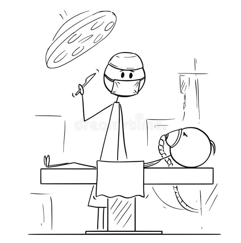 Desenhos animados do cirurgião no teatro de funcionamento pronto para operar um paciente ilustração do vetor
