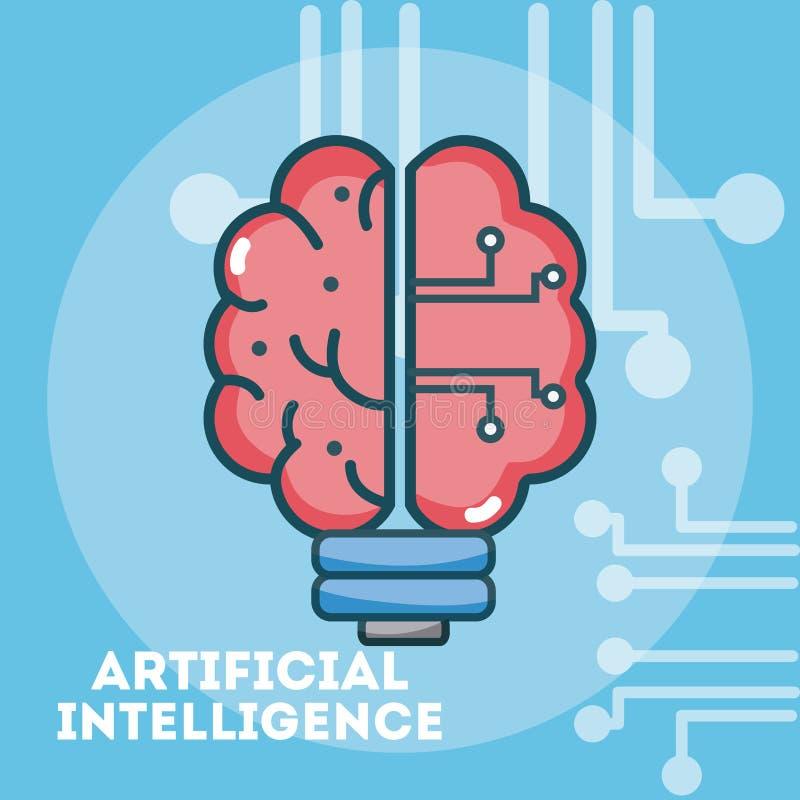 Desenhos animados do conceito da inteligência artificial ilustração stock