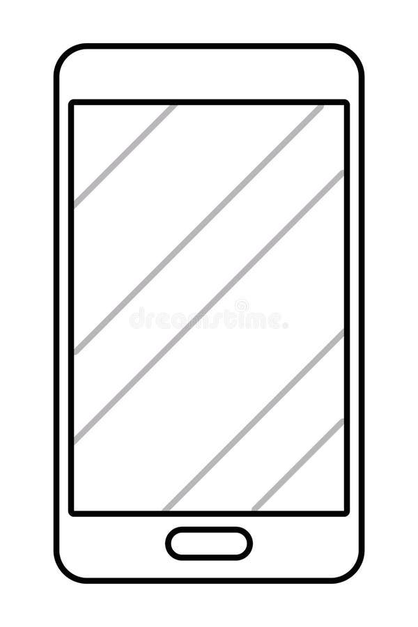 Desenhos animados do ?cone do telefone celular em preto e branco ilustração stock