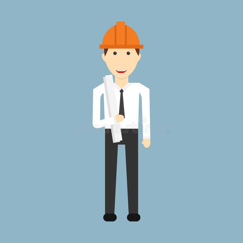 Desenhos animados do coordenador com construção de engenheiro civil ilustração stock