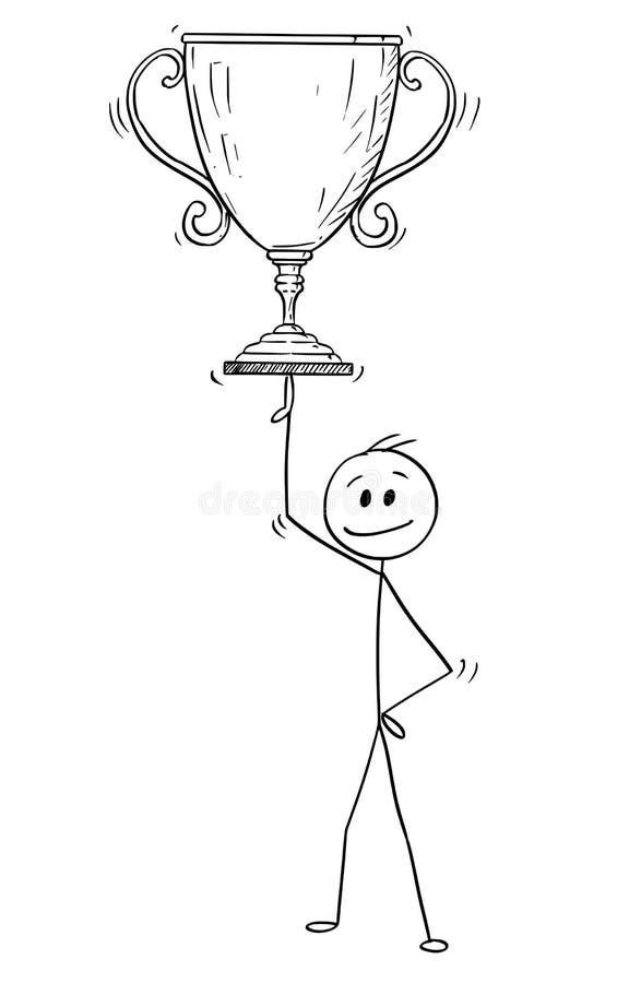 Desenhos animados do copo do homem ou do Balancing Winner Trophy do homem de negócios em um dedo ilustração stock