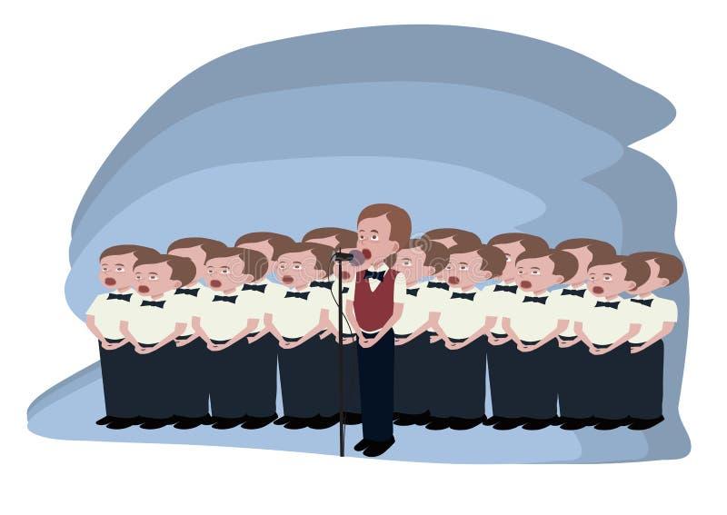 Desenhos animados do coro dos meninos ilustração do vetor
