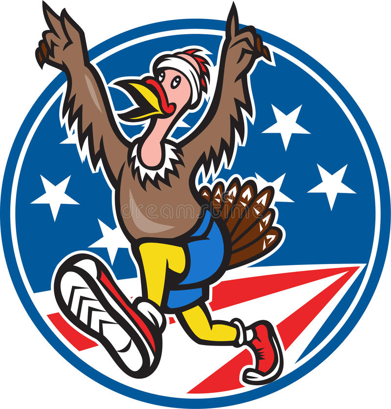 Desenhos animados do corredor da corrida de Turquia do americano ilustração royalty free