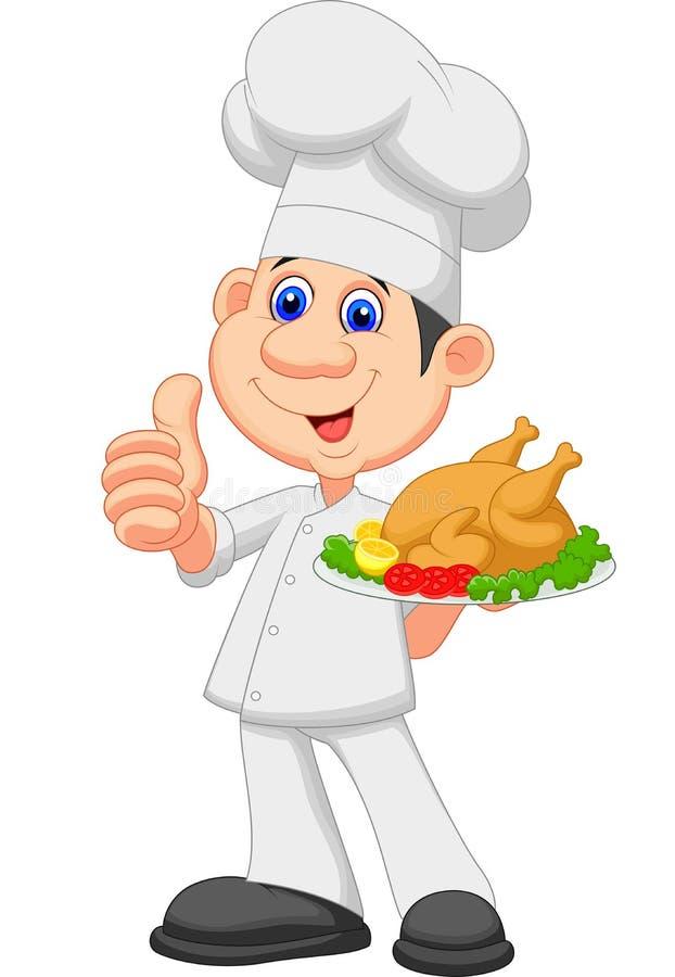 Desenhos animados do cozinheiro chefe com galinha roasted ilustração royalty free